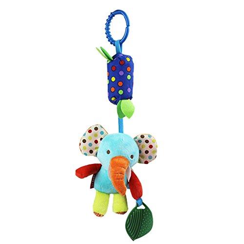 Bébé Jouets pour Poussette Berceau Hochet Pendentif Marionnette Peluche avec Tintement - Eléphant