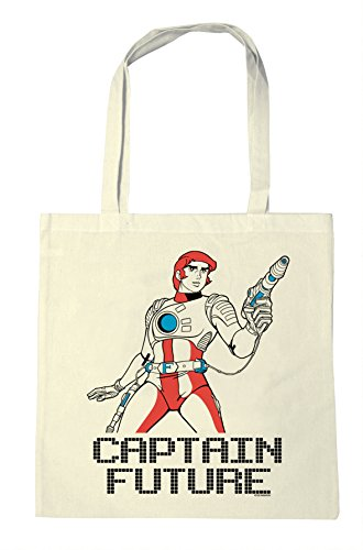 Logoshirt Captain Future - Science-Fiction Held Baumwolltasche - Stofftasche mit Druck und langen Tragegriffen - natur