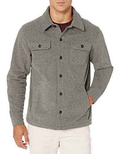 Amazon Essentials Men's Long-Sleeve Polar Fleece Shirt Jacket, Charcoal Heather, Large
