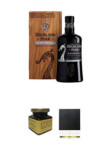 Highland Park Ragnvald Single Malt Whisky 0,7 Liter + Heidelbeere Flöki Icelandic Young Malt 150 Gramm Glas + Schiefer Glasuntersetzer eckig ca. 9,5 cm Durchmesser