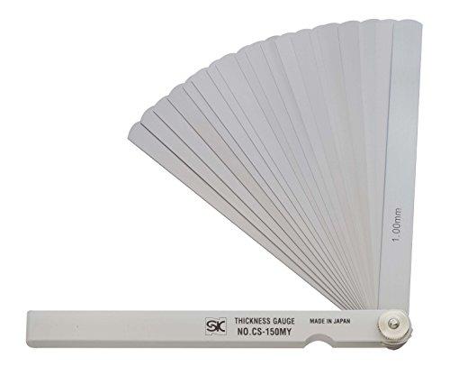 新潟精機 SK シクネスゲージ(すきまゲージ) カラースリーブタイプ 白 19枚組 150mm CS-150MY 0.03-1.00mm