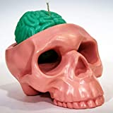 My Geek Things Handmade Novelty Crying Skull Candle Holder with a Brain Candle (Pink/Turquoise)