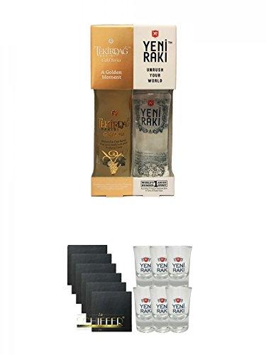 Yeni Raki 0,35 Liter + Tekirdag Raki Gold Türkei 0,35 Liter in Geschenkverpackung + Schiefer Glasuntersetzer eckig 6 x ca. 9,5 cm Durchmesser + Yeni Raki Shot Gläser 6er Set mit Eichstrich