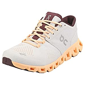 ON Running Womens Cloud X Textile Synthetic Silver Almond Trainers 10 US