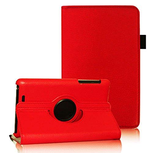 COOVY® Cover für Google ASUS Google Nexus 7 (1. Generation Model 2012) Rotation 360° Smart Hülle Tasche Etui Hülle Schutz Ständer Auto Sleep/Wake up   Farbe rot