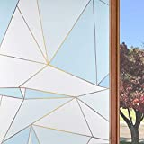 Static Cling Window Privacy Film Stained Glass Window Door Film Frosted Decorative Sticker for Home Office Living Room, Art Geometry Pattern, 35.4'' x 78.7'' (Light Blue)