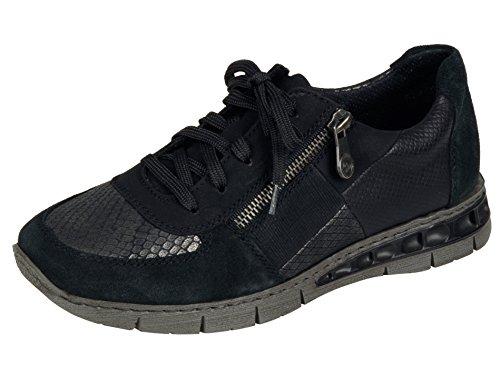 Rieker Damenschuhe M2840 Damen Schnürer, Halbschuhe, Schnürhalbschuhe schwarz Kombi (schwarz/Granit/schwarz/schwarz/Granit/schwarz / 01), EU 40