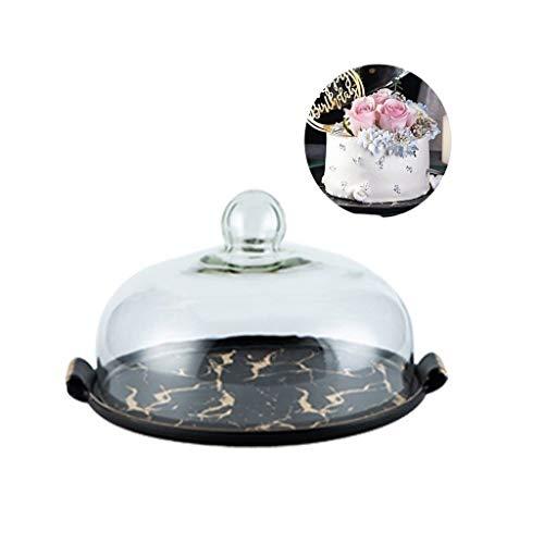 C-J-Xin Decorar el Plato Pastel, Banquete Postre Tabla de la Torta Cubierta multifunción Tapa Transparente Queso Dome Portatartas (Color : Black, Size : 12In)