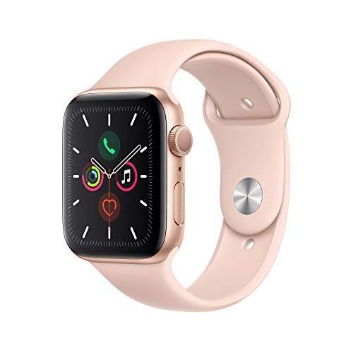 Apple Watch Series 5 (GPS) 44mm Gold Aluminum Case with Pink Sand Sport Band - Gold Aluminum