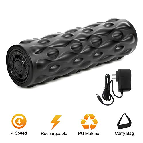 "IDEER LIFE Vibrating Foam Roller, 4-Speed Vibrating Foam Roller, High-Intensity Deep Tissue Massager for Muscle Recovery, 12.3"" Rechargeable Electric Massager Myofascial Release with Carry Bag. Black"