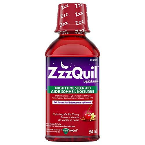 ZzzQuil Nighttime Sleep Aid Liquid, 12 fl oz, Calming Vanilla Cherry Flavor
