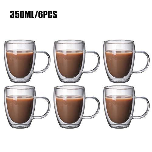 DreamyLife 350ml Doppelwandige Gläser - Espressotassen - Latte Macchiato Cappuccino Gläser - Wassergläser mit Henkel, 6-teilig