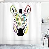 ABAKUHAUS Duschvorhang, Bunter Exotischer Zebra Abstrakter Grafik Simple Minimalistischer Regenbogenfarben Bunt Druck, Blickdicht aus Stoff inkl. 12 Ringen Umweltfre&lich Waschbar, 175 X 200 cm