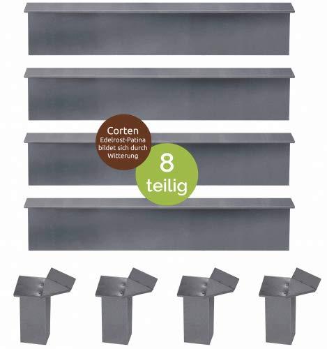 bellissa Schneckenblech corten Variante, Schneckenblech 14-teiliges Set, 10x Schneckenblech + 4X Eckteil