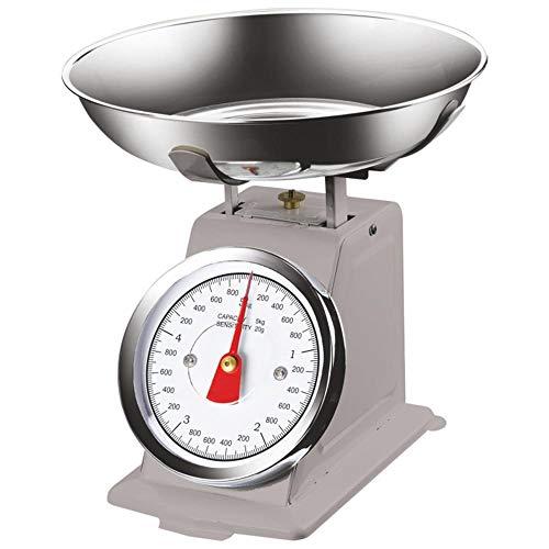 Bakaji Bilancia Meccanica Analogica da Cucina Atlas in Metallo con Ciotola Cromata Design Vintage Capacità Massima 5Kg Accessori Per Cucinare (Grigio)