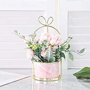 Veryhome Artificial Flowers Hydrangea with Ceramic Vase Silk Chrysanthemum Mini Potted Fake Flowers Hanging Potted Plants for Wedding Home Office Decoration Pack of One (Pink-Marble Pot)