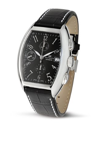Philip Watch Panama Cronografo Automatico con Quadrante Nero e Cinturino In Pelle Nero