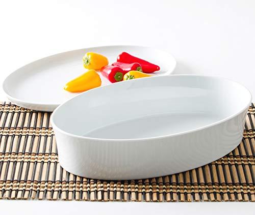 Kahla 32A354A90032C Auflaufform rund oval weiß ohne Muster im Set mit Deckel 32 cm Porzellan Backform Ofenform Kuchenform