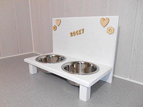 Futternapf / Hundenapf für Ihren Vierbeiner, mit 2 Edelstahlnäpfen mit je 750 ml. Handgefertigtes Hundezubehör und Tierbedarf. Lackierung in weiß mit Wunschname! (378P19)