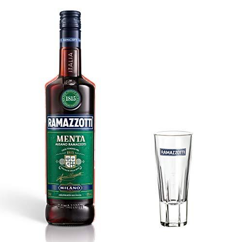 Ramazzotti Menta Kräuterlikör Set mit Glas, mit Minznote, Schnaps, Spirituose, Alkohol, Flasche, 32%, 700 ml