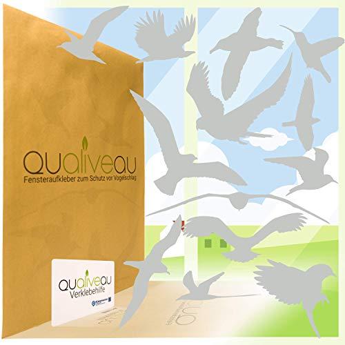 QUALIVEAU® 12-30cm Große Fensterbilder Aufkleber zum Schutz vor Vogelschlag, Komplettset mit Verklebehilfe, Hellgrau