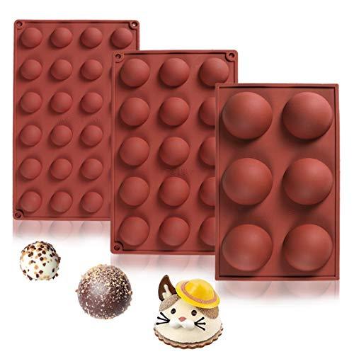 3 Pcs Molde Silicona Semi Esfera, sin BPA, para Hacer Chocolate, Tarta, Gelatina, Pudín, Muffin, Jabón, 6 cavidades, 15 cavidades, 24 cavidades Semiesferico, Moldes Cocina