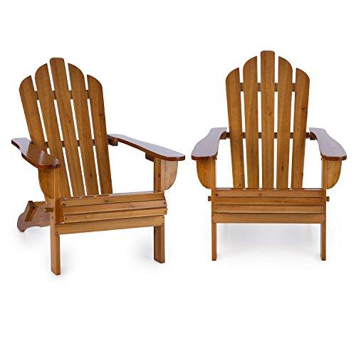 blumfeldt Vermont Set 2 sillas de jardín Estilo clásico Adirondack (Madera de Pino, 73x88x94 cm, Plegable, Resistente a Intemperie) - marrón