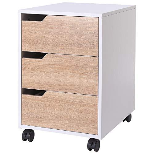 HOMCOM Rollcontainer, Aktenschrank, Bürocontainer mit 3 Schubladen, Büroschrank, Aufbewahrung, Container,4 Universalräder, MDF, Natur+Weiß, 40 x 50 x 57,5 cm