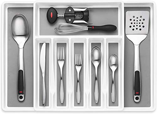 Expandable Cutlery Drawer Organizer, Flatware Drawer Tray for Silverware, Serving Utensils, Multi-Purpose Storage for Kitchen, Office, Bathroom Supplies