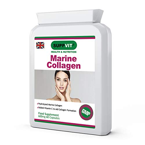 Hydrolysed Type 1 Marine Collagen Peptides | Anti-Ageing | for Skin, Joints & Bones | Plus Vitamin C | Neutral in Odour & Taste | 600mg 60 Capsules | UK Manufactured and GMP Certified
