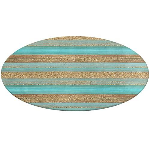 Alfombra redonda de baño, moderna turquesa de imitación dorada, diseño de rayas de purpurina antideslizante, absorbente de agua, para salón, dormitorio, bañera, cocina, 61 cm