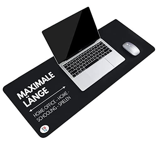 Schreibtischunterlage Neopren & Mauspad xxl schwarz 90x40 Extra dick 3mm rutschfeste wasserdichte Tischunterlage waschbar für Laptop, Foto- oder Schulunterlagen deiner Kinder für Büro | Home Office