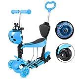 Yorbay Patinete Scooter Freestyle 3 en 1 Walker Trole Scooter 3 Ruedas de LED Altura Ajustable con 1x Cesta del Escarabajo para Niño Infantil (Azul) Reutilizable
