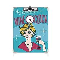 クリップボード ワイン ミニバインダー レディースそのワインOClockプリティウーマン飲むポートレート乾杯レトロデザイン装飾的 用箋挟 クロス貼 A4 短辺とじマゼンタブルーイエロー