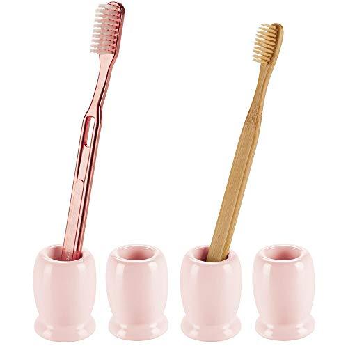 mDesign - Tandenborstelhouder voor enkele tandenborstel - voor badkamer - voor wastafel of medicijnkastje - rond/keramisch/klein/vrijstaand - lichtroze - per 4 stuks verpakt