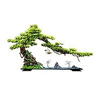 人工植物 人工盆栽ツリー中国のシミュレーションツリーホワイトセラミッククレーンセラミックロッズとリビングルームとオフィスの装飾に使用される青い細かい砂 オフィスDIY装飾盆栽