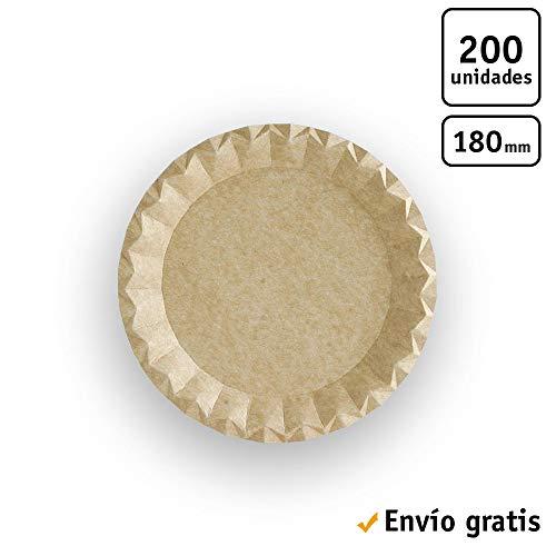 TELEVASO - 200 uds - Platos llanos redondos 180 mm cartón kraft ecológico - Desechables, reciclables y compostables - Ideal para fiestas, cumpleaños, bares, restaurantes, eventos, catering