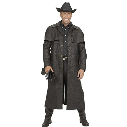 Amakando Disfraz del Oeste Abrigo Vaquero Negro XL 54 Atuendo Salvaje Oeste Disfraz lejano Oeste Rodeo Traje Cowboy Sheriff Capa Cowboy Hombre