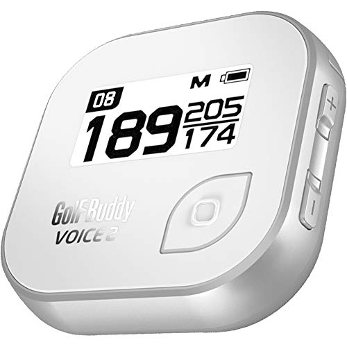 Golf Buddy Voice 2 GolfBuddy Voice4 Easy-to-Use Talking GPS, White/Silver