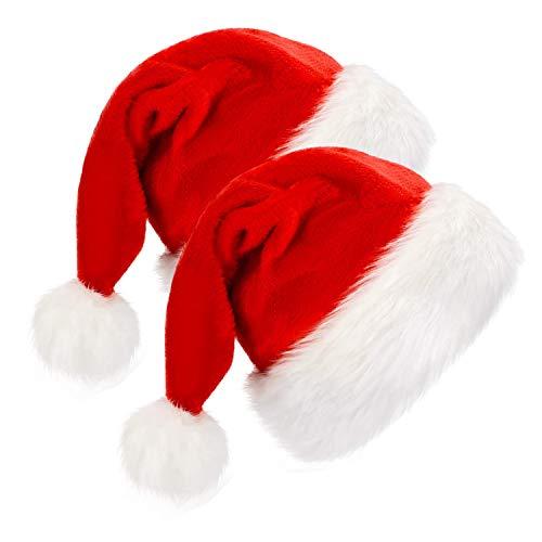 MICHETT Gorro de Papá Noel unisex de terciopelo, gorro de Papá Noel, en rojo y blanco, ala de peluche para adultos, fiestas, Año Nuevo, Navidad (2 unidades)