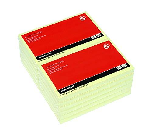 Gelbe Haftnotizen, 125 x 75mm, FSC-Siegel, 100 Blatt pro Block, 12 Blöcke pro Pack