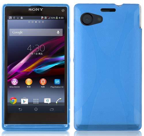 Preisvergleich Produktbild Cadorabo Hülle für Sony Xperia Z1 COMPACT - Hülle in ROYAL BLAU Handyhülle aus flexiblem TPU Silikon im X-Line Design - Silikonhülle Schutzhülle Soft Back Cover Case Bumper