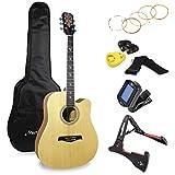 Martin Smith Premium Kit de guitarra acústica con afinador de guitarra, bolsa de guitarra, soporte de guitarra, cuerdas de guitarra, plectrums y soporte (W-800-N-PK)