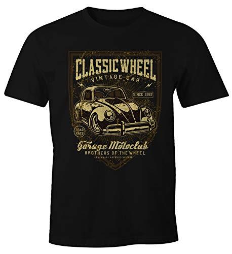 MoonWorks Herren T-Shirt Oldschool Retro Auto schwarz L