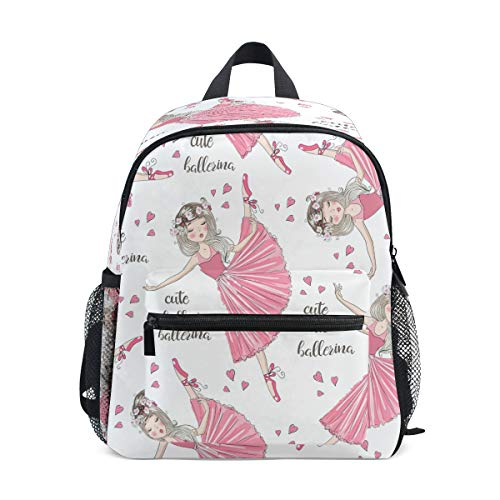 RXYY Kids Backpacks Cute Ballet Girl Heart Shoulder Travel Toddler Preschool School Bag Casual Backpack with Chest Strap for Girls Boys