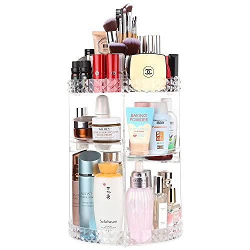 Kootek Rotating Makeup Organizer 360 Spinning Cosmetic Display Cases Adjustable Bathroom Makeup Holder Large Capacity Storage Shelf Rack with 4 Layers Tray for Bedroom Vanity Dresser Room, Clear