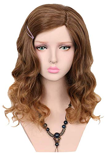 Yuehong Medium Brown Wig Kinky Curly Cosplay Harajuku Wig For Women Synthetic Hair Wigs