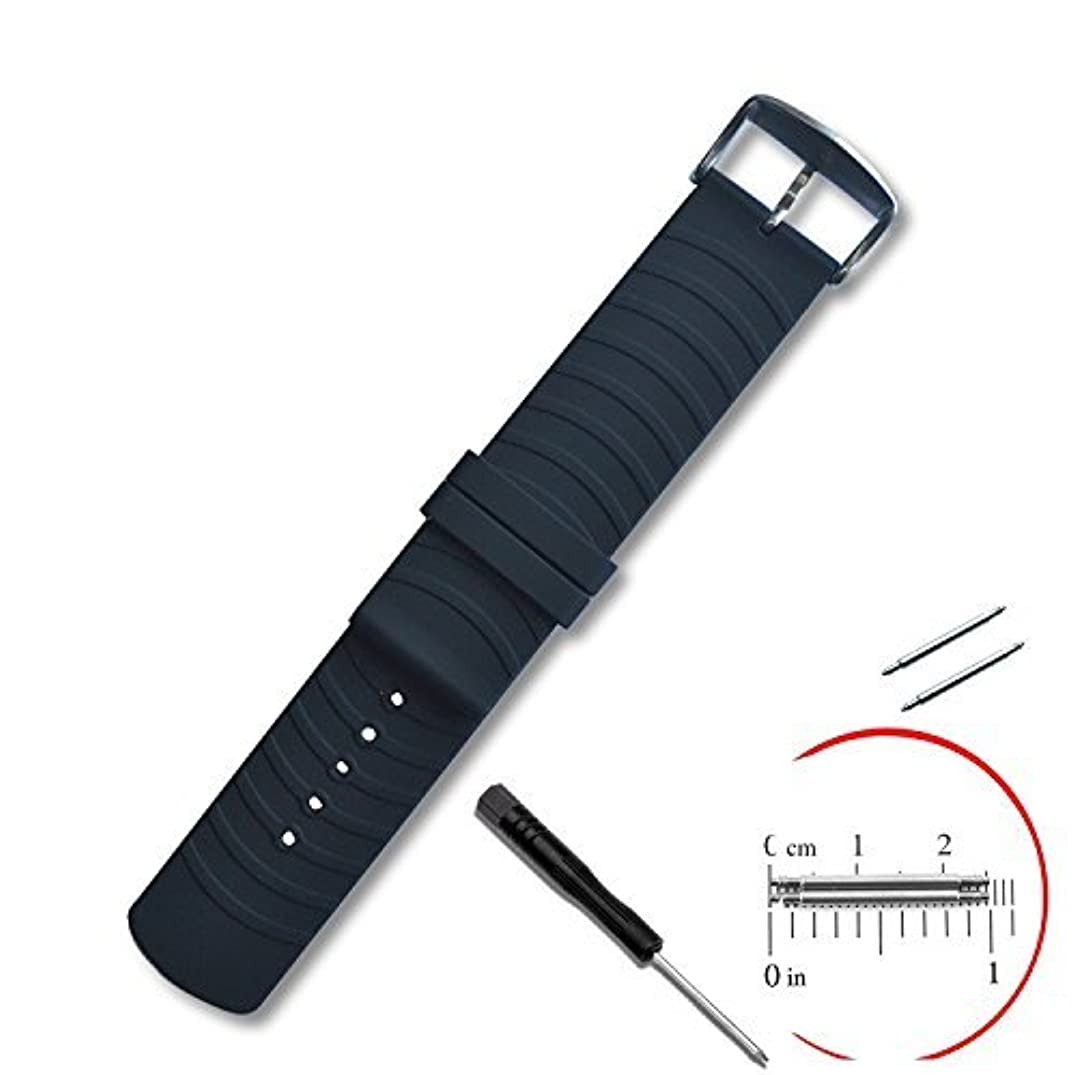 VIMVIP 22mm / 200mm Sport Silicone Smart Watch Replacement Band with 2 Pins Tool Screwdriver for Samsung R380 R381 R382 LG W110 W150 Asus Zenwatch Pabble Time (Black)