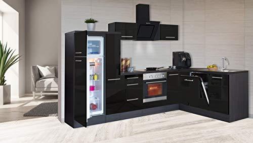 respekta Kątownik kuchenny kuchnia w kształcie litery L kuchnia dąb czarny wysoki połysk 290 x 200 cm