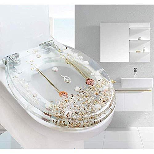 KaiKai Toilettendeckel, Langsam schließen Harz WC-Sitz mit Deckel, Kunst 3D-Effekte Heavy Duty Toilettendeckel mit Dolphin, Seestern, Echt Muscheln und Sand for U Typ WC, Weiss